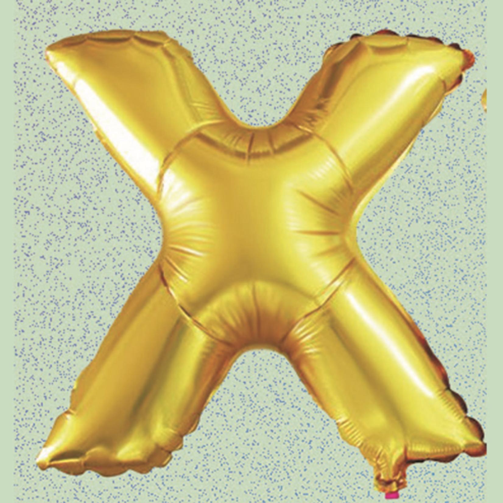 "16'' FOIL BALLOON, ""X"", GOLD, 1 PC"