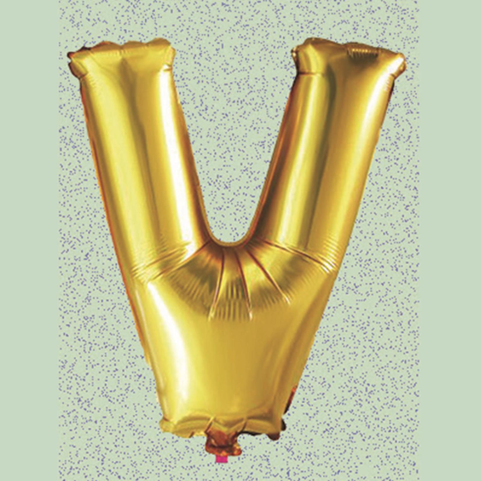 """32"""" GOLD FOIL BALLOON """"V"""""""
