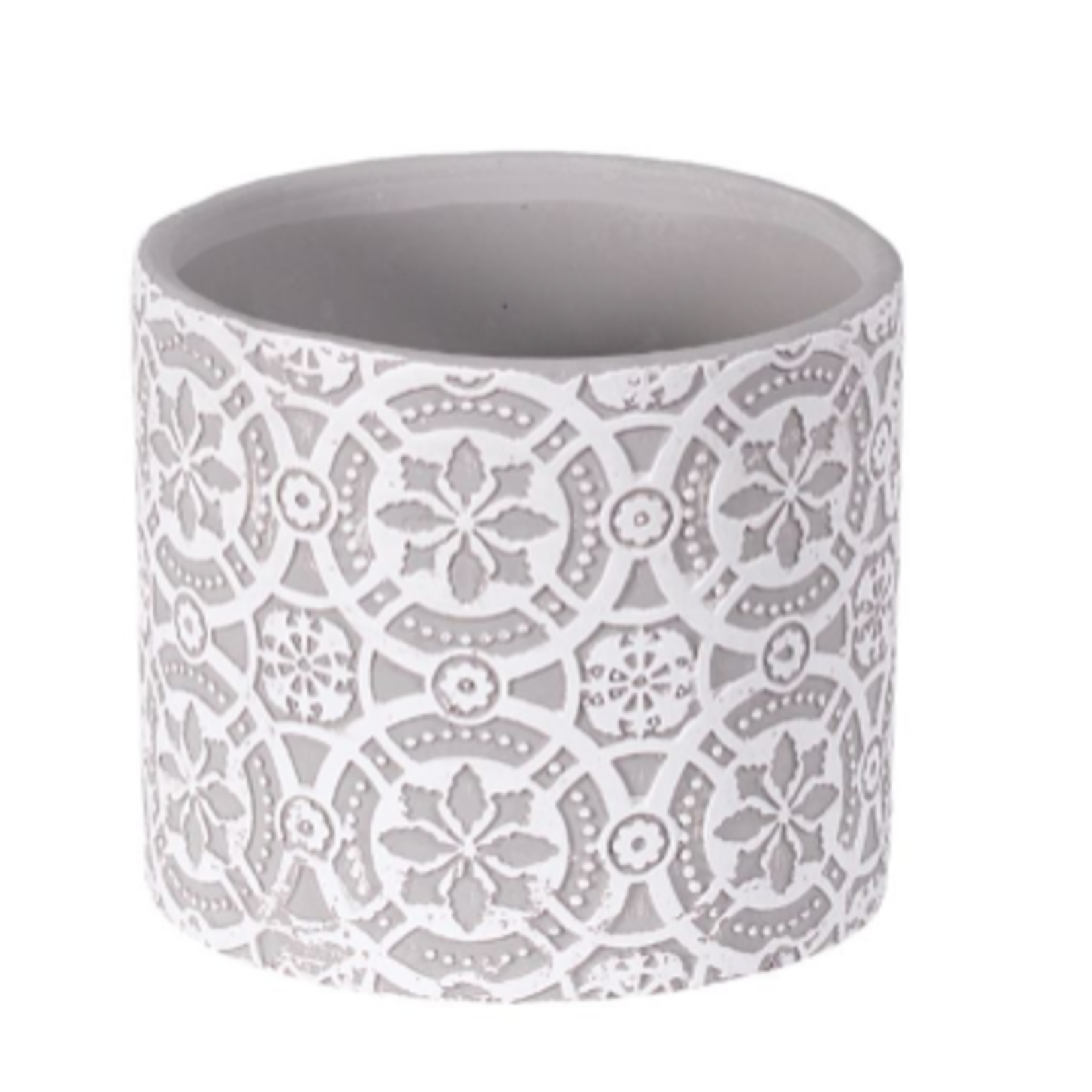 """4.125''D X 3.75""""H ROUND EMBOSSED CEMENT PLANTER"""