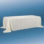 """90"""" X 132"""" IVORY RECTANGLE POLYESTER TABLECLOTH"""