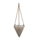 """10.5""""d x 12""""h x 24""""rope CONE METAL WIRE HANG WITH BURLAP"""