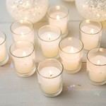 """IVORY CANDLE IN 2""""""""ROUND GLASS"""