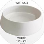 "4.75""H X 10.5""OPEN X 12""W WHITE LOW CERAMIC BOWL"