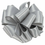 """#9, 50 YD, DOUBLE FACE SATIN RIBBON """"SILVER"""""""