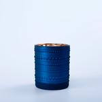 "4.5""H X 3.5"" BLUE GLASS W/ GOLD INSIDE CYLINDER"