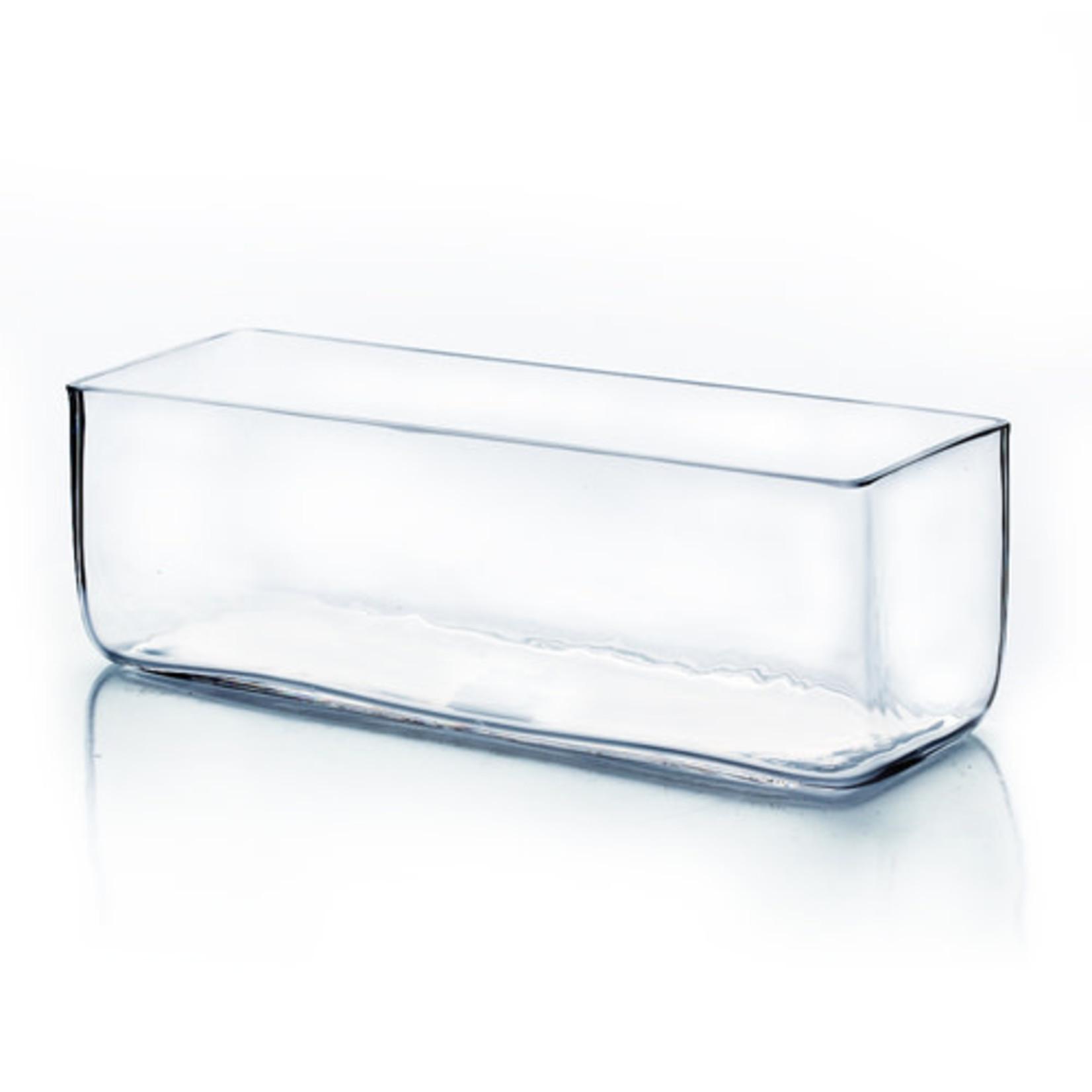 "14""L X 4""H X 4""W LOW RECTANGLE GLASS VASE"