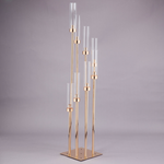 """54""""H GOLD METAL 8 HEAD CLUSTER STAND W/ ACRYLIC CANDLE SHADES/CHIMNEYS"""