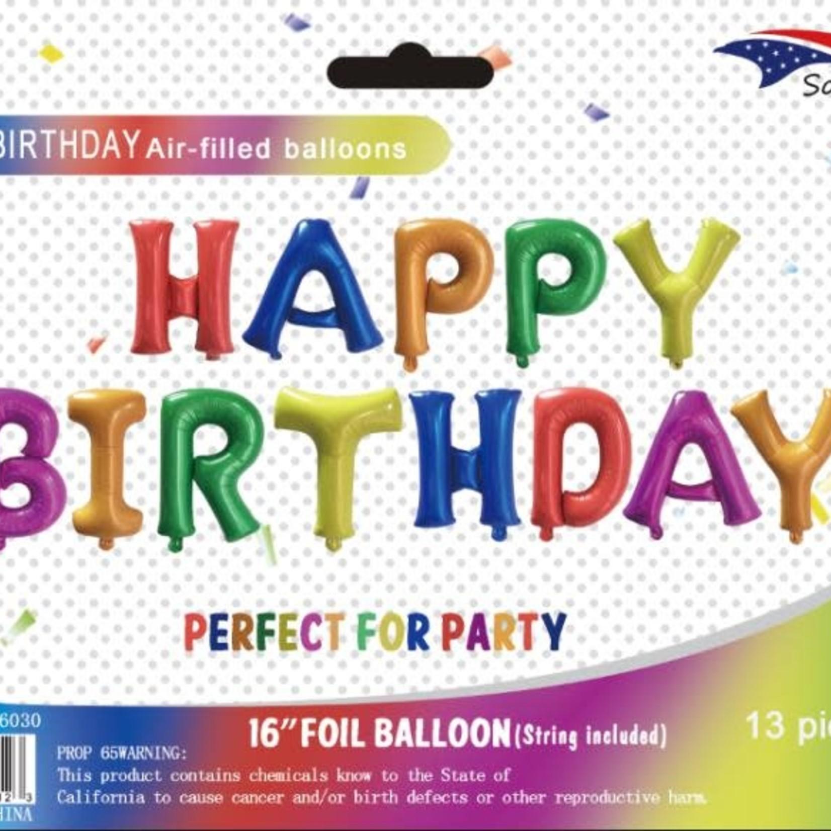 "16'' FOIL BALLOON ""HAPPY BIRTHDAY"" ASST.COLORS"