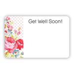"""Get Well Soon"" Floral Polka Dot edge, Round Corners"