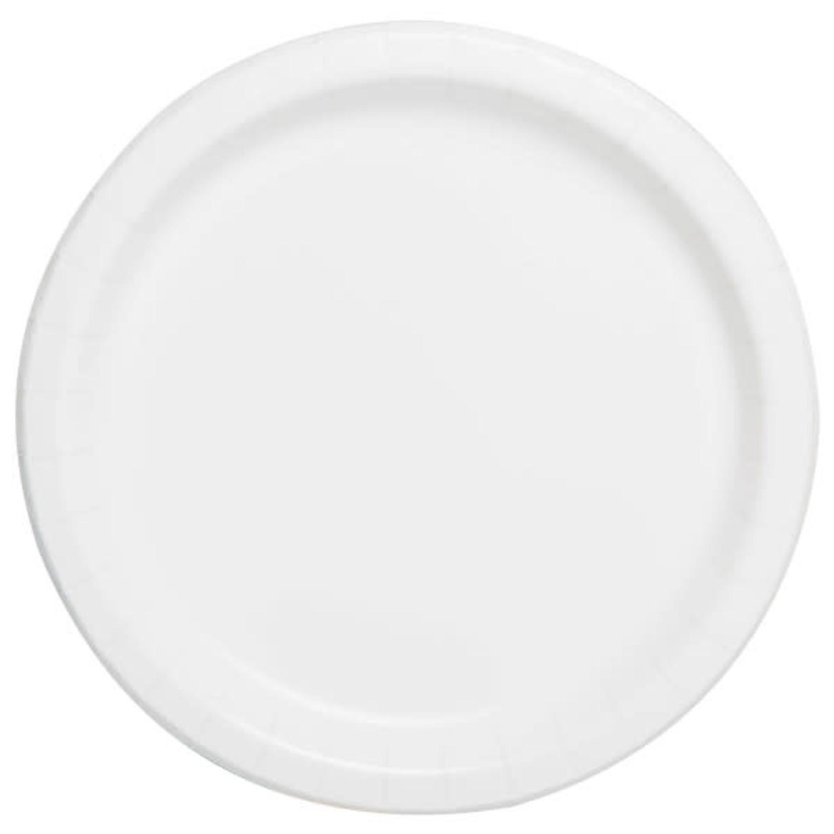 "20PCS  7"" Round Plates BRIGHT WHITE SOLID"