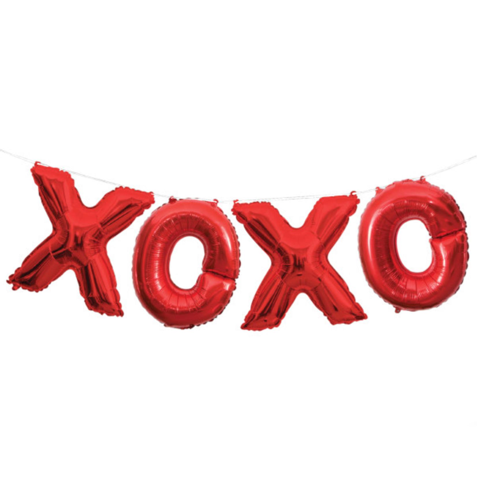 """4"""" RED XOXO LTR BLN BNR KIT"""