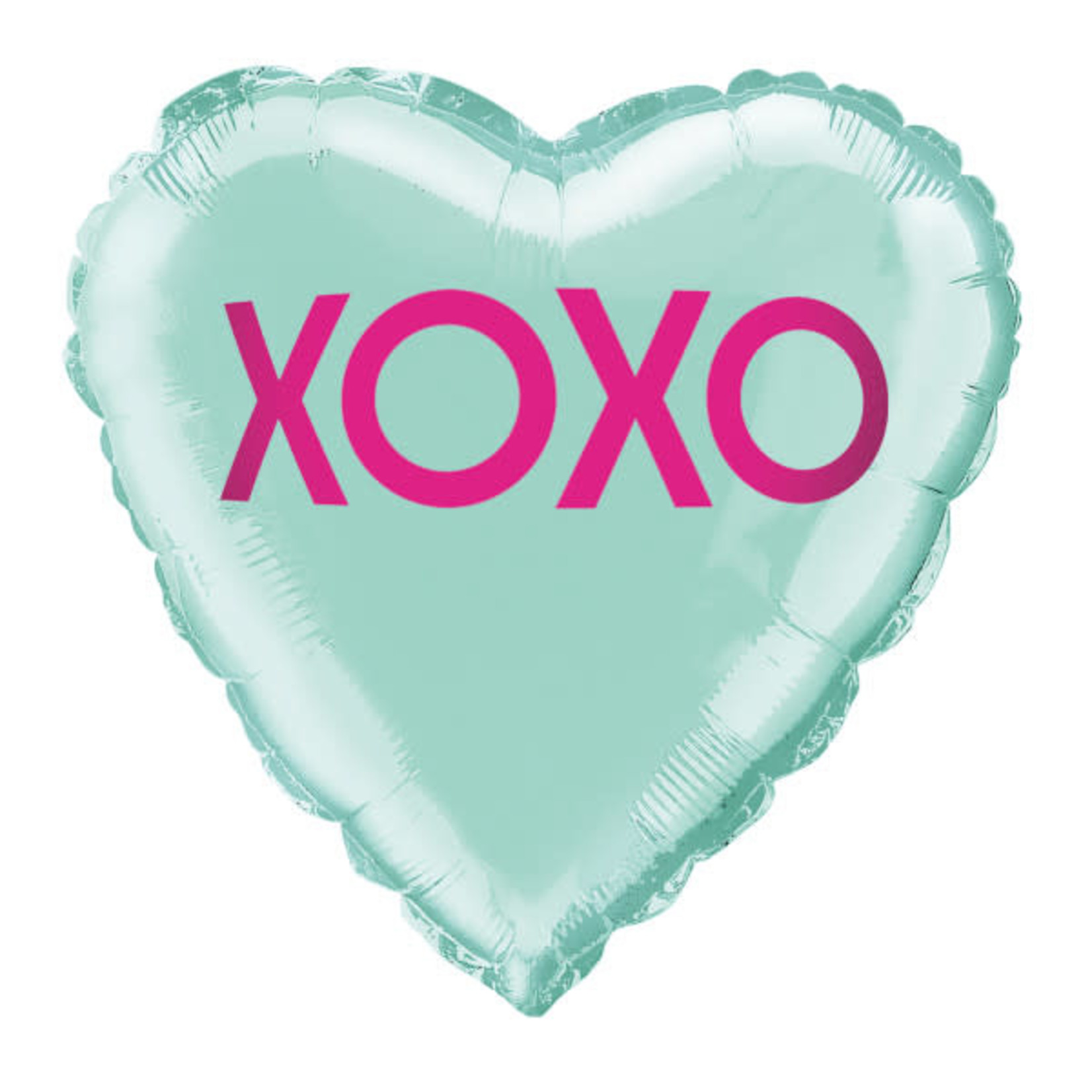18'' XOXO TEAL HEART BALLOON