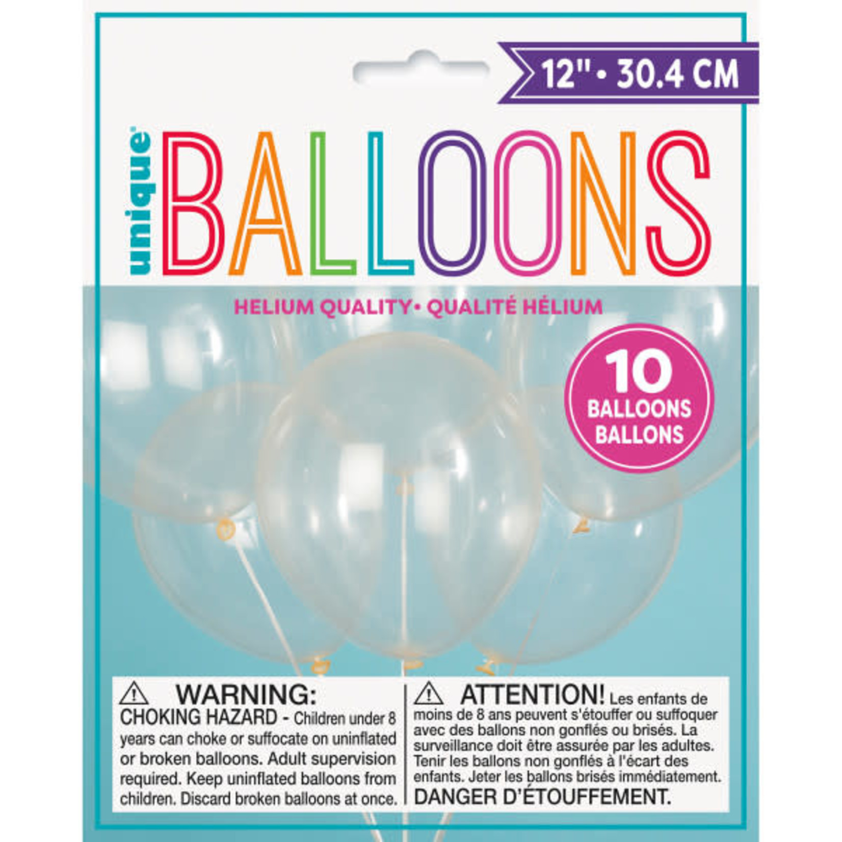 """10 12"""" CLEAR BALLOONS"""