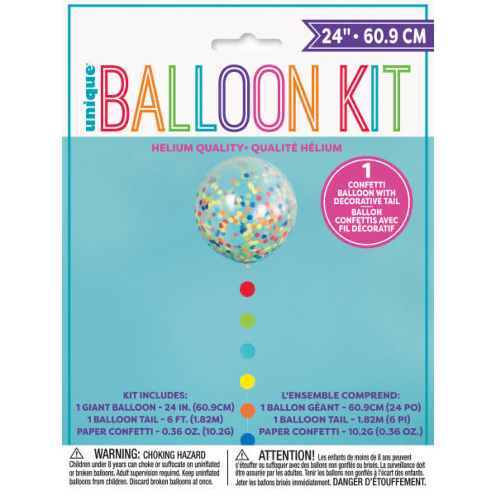 24'' CLEAR BALLOON KIT W/ CONFETTI AND TASSLE