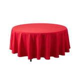 RED ROUND TABLE COVER POLYESTER 108''