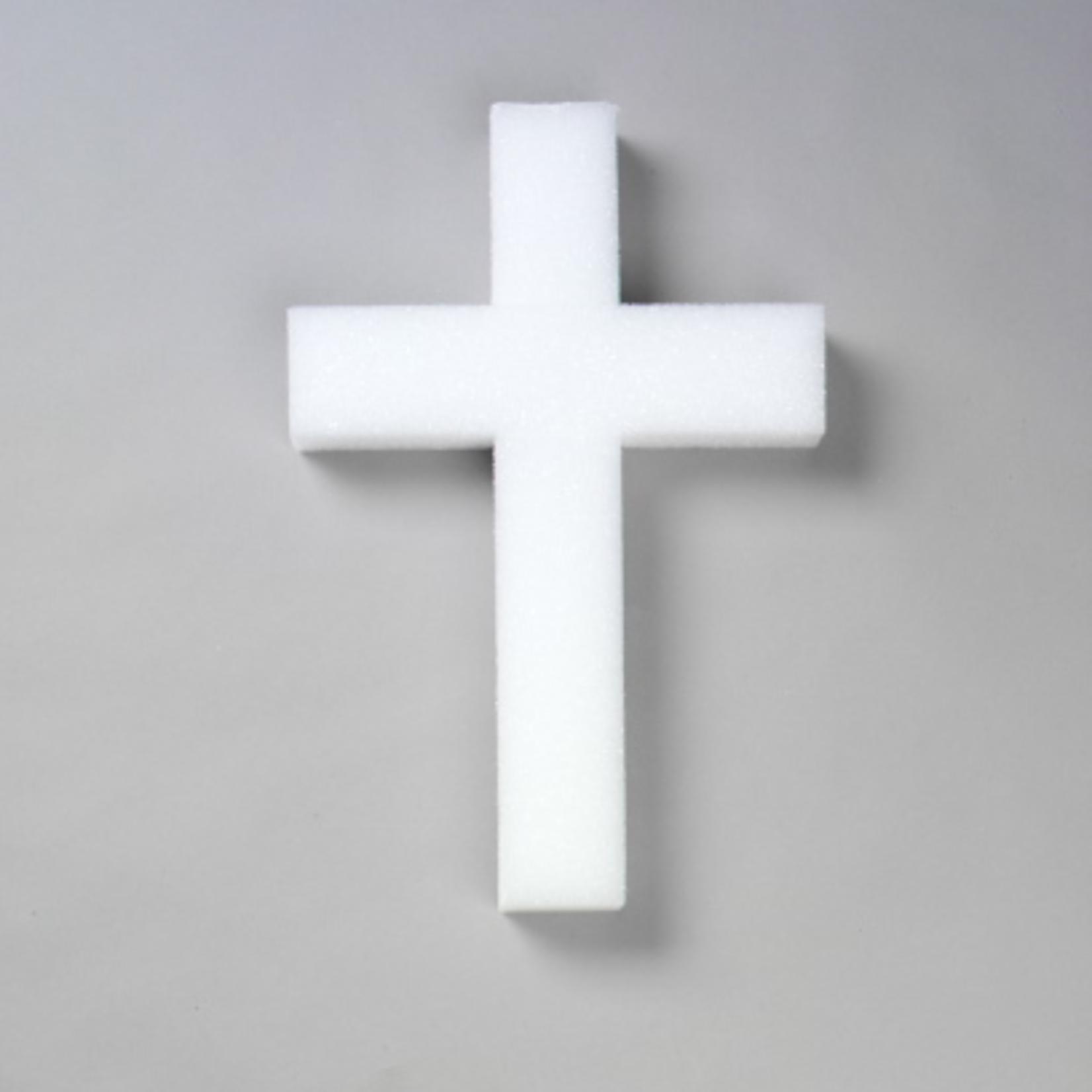 "12""""  White STYROFOAM Cross, 2 Pc. 12x8x1-1/2x2"""""