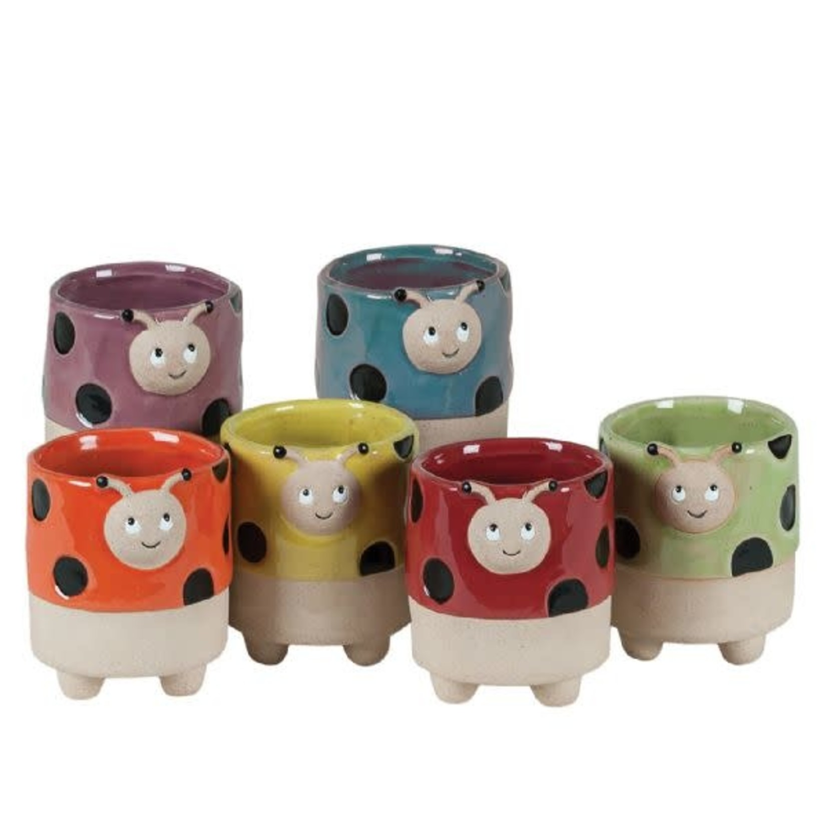 """3.5''H X 3"""" ROUND LADYBUG POTTERY ASSORTED STYLES PER BOX. PACKED 24"""