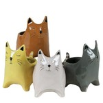 """4.75'' X 4.25"""" X 3"""" ROUND CAT SHAPED POTTERY ASSORTED COLORS PER BOX. PACKED12"""