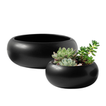 """3.3""""H X 8""""D BLACK CERAMIC LOW SAUCER CYLINDER SIMPLY LIKE"""