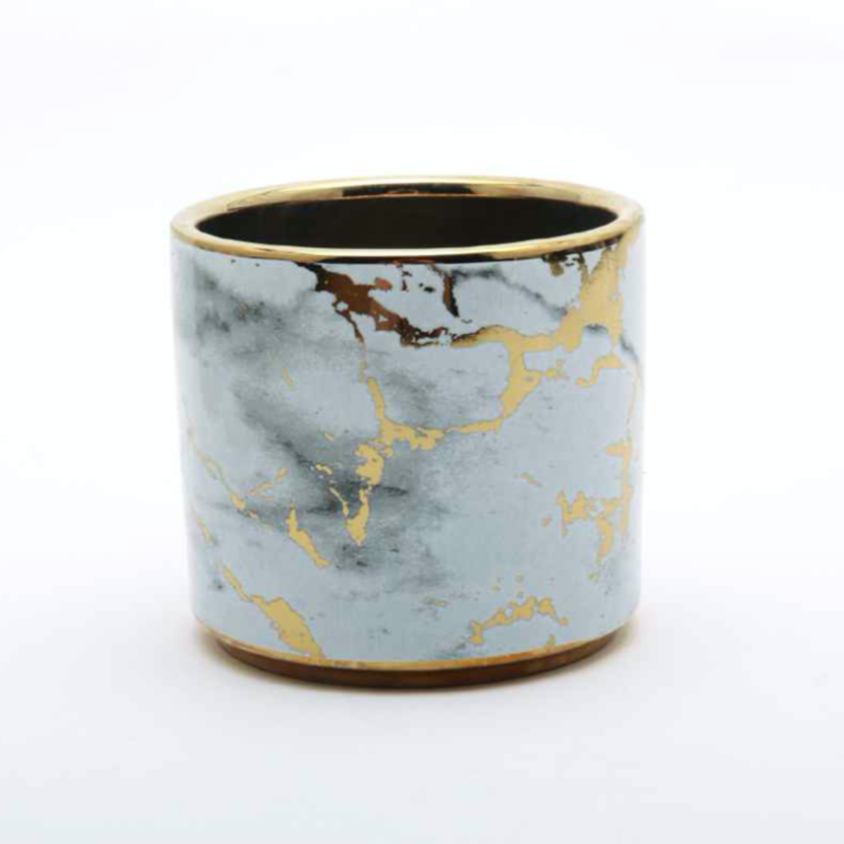 """3""""H X 3.5"""" MARBLE CERAMIC CYLINDER GOLD ACCENTS"""