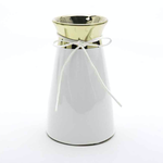 """8""""h x 4.75"""" WHITE CERAMIC WITH GOLD TOP"""
