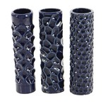 """12""""H X 3""""D BLUE CERAMIC CYLINDERS ASSORTED STYLES IN A BOX"""