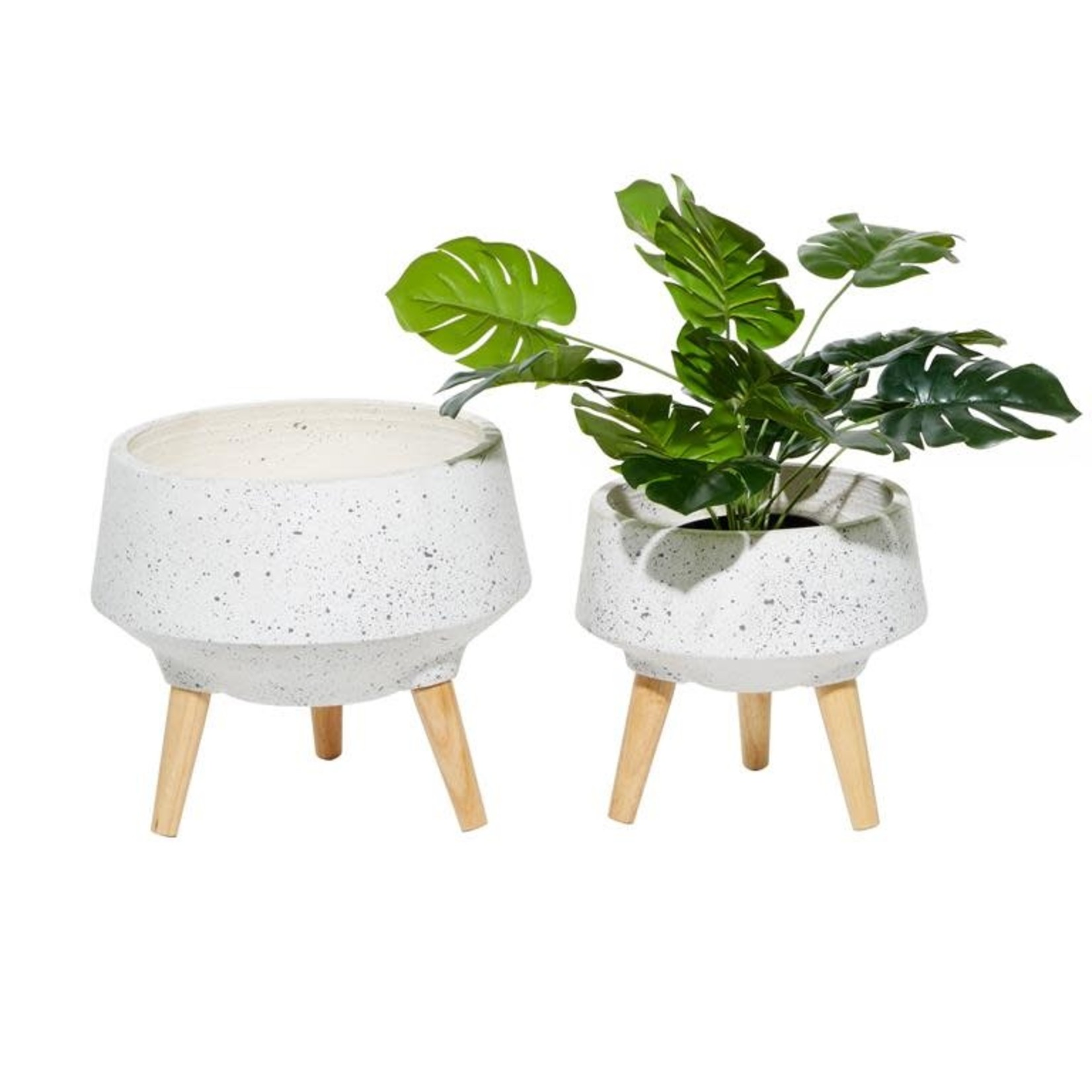 """12""""H X 12"""" WHITE CERAMIC PLANTER W WOOD FOOTED"""