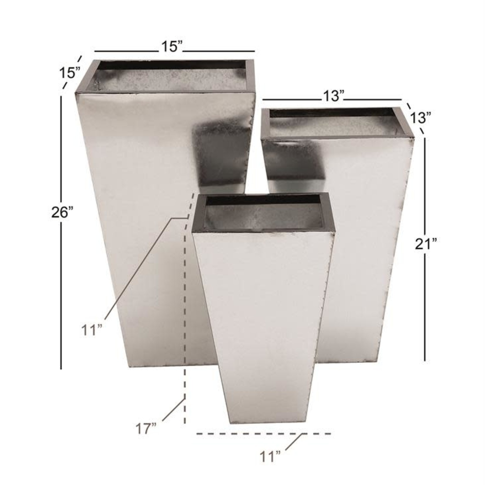 """21""""h x 13"""" SILVER METAL PLANT STAND"""