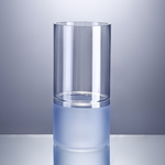 """10""""H X 5""""  BLUE STAINED GLASS CYLINDER FROSTED BLUE BOTTOM"""