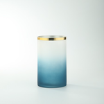 """8""""H X 4.5"""" WHITE AND BLUE FROSTED W/ GOLD RIM GLASS CYLINDER"""
