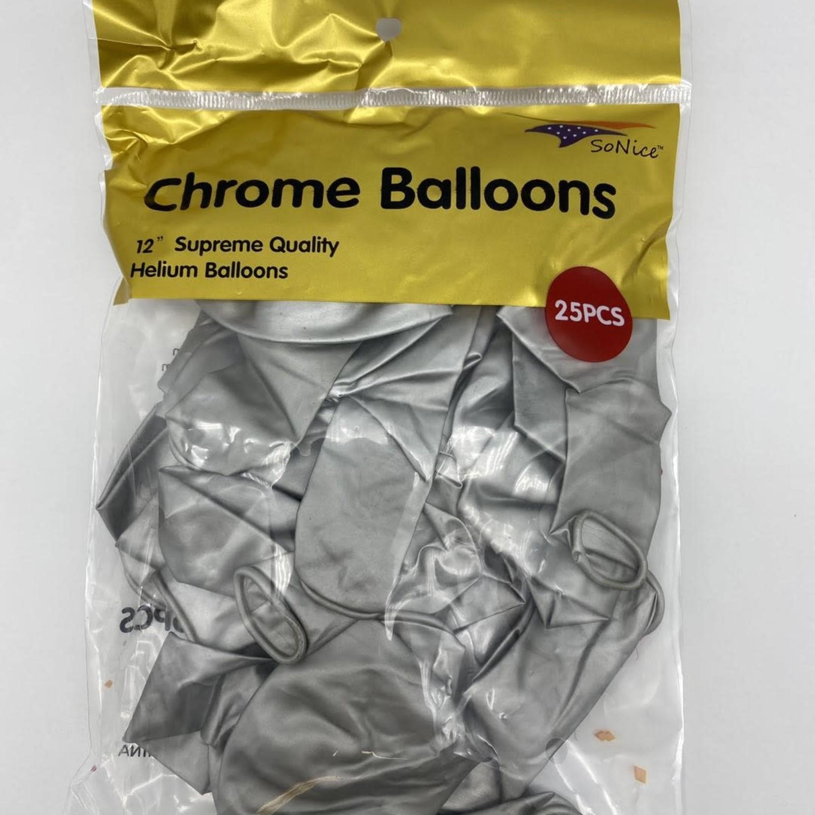 25 CT SILVER CHROME BALLOONS