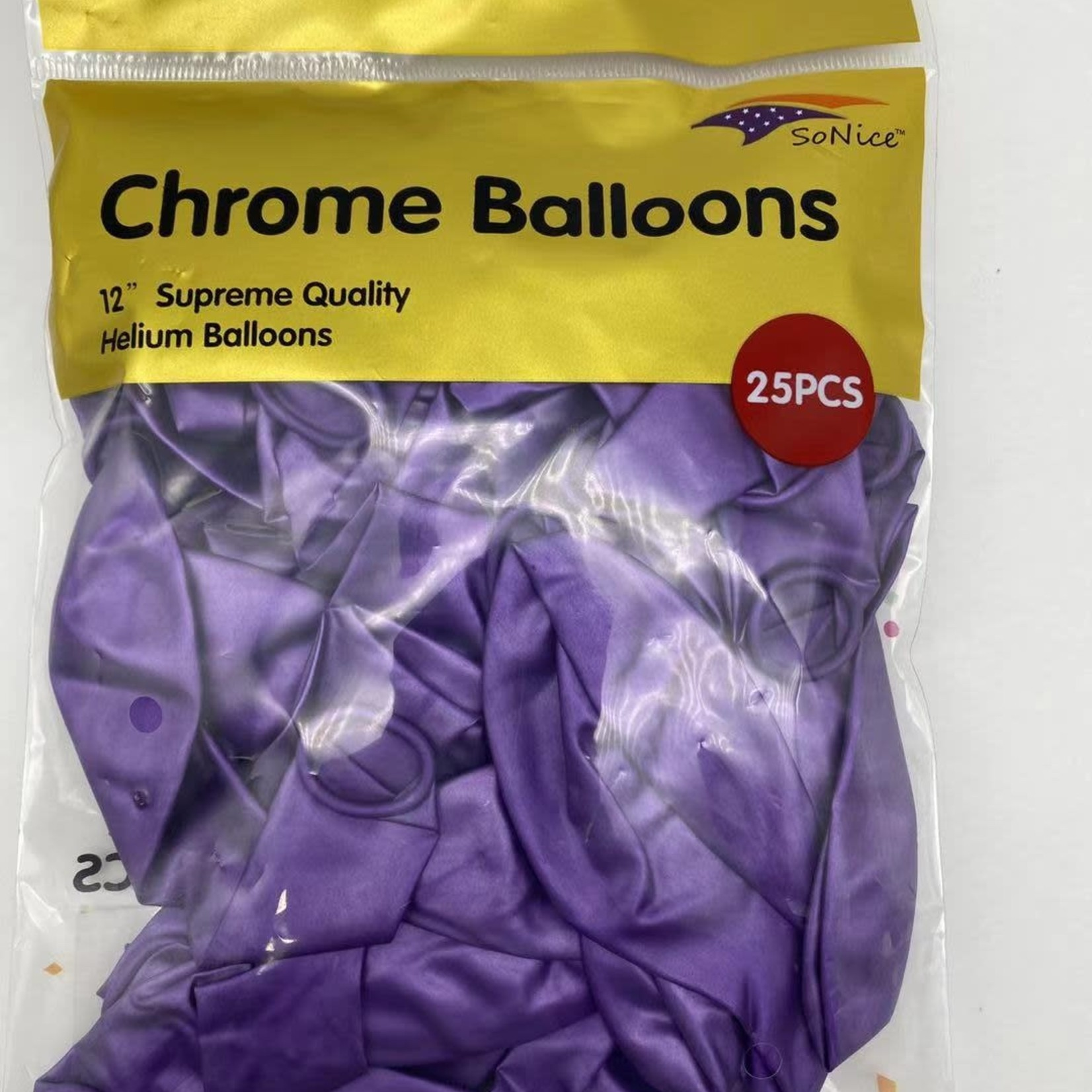 25 CT PURPLE CHROME BALLOON 12''