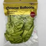 25 CT GREEN CHROME BALLOONS, 12 ''