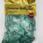 25 CT TURQUOISE CHROME BALLOON 12''