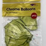 18'' GREEN CHROME BALLOON, 3 PIECES