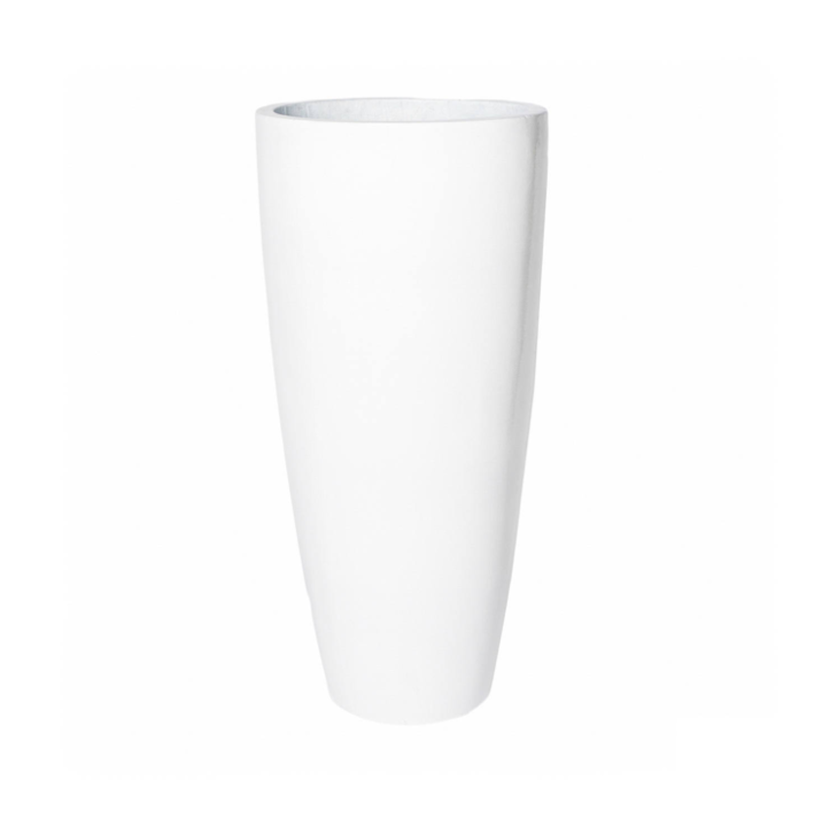 "39.5"" X 18""D TAPER CYLINDER  GLOSSY WHITE POLY STONE/FIBERGLASS PLANTER"
