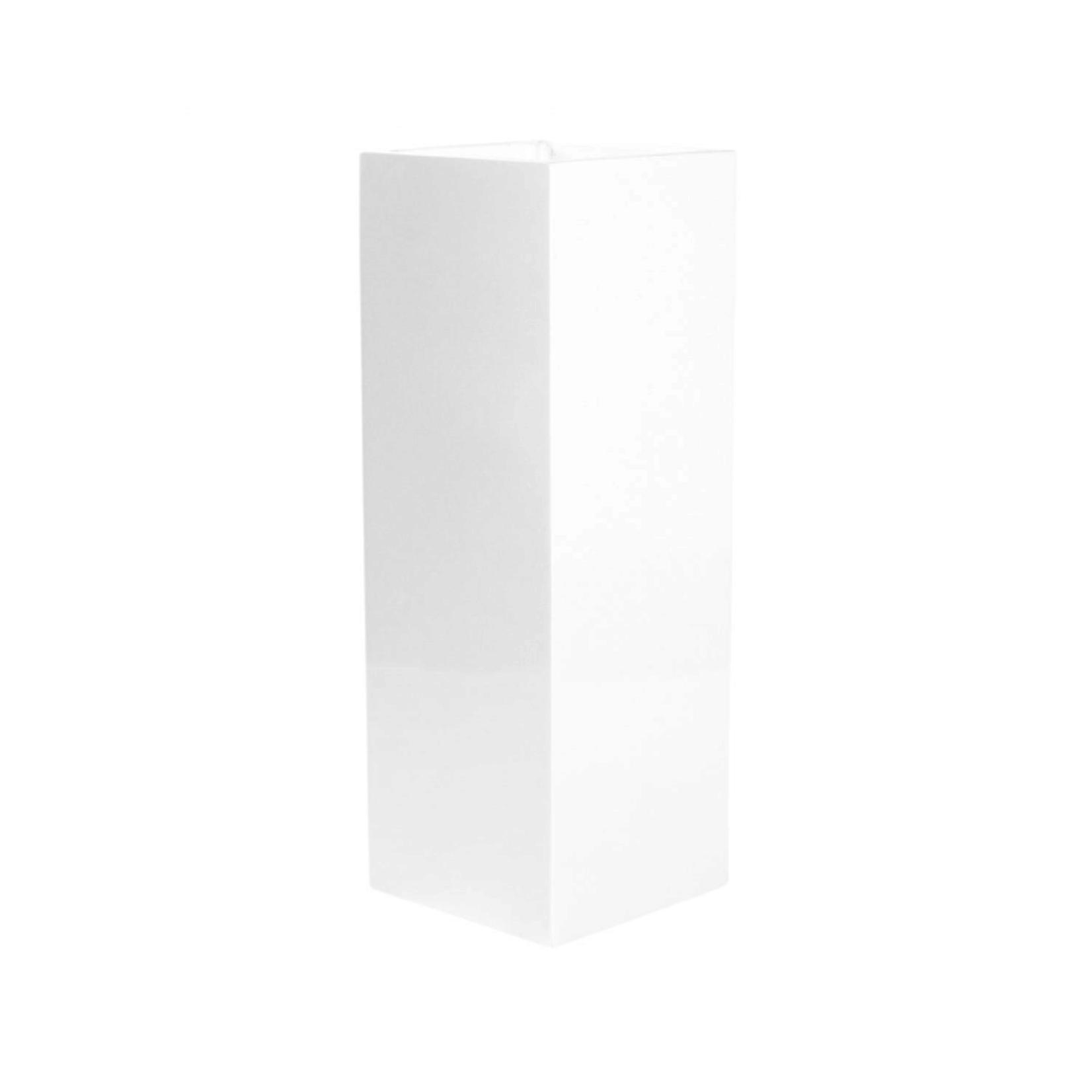 "33.5""H X  15""D  GLOSSY WHITE POLY STONE/FIBERGLASS PLANTER"