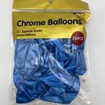 12'' CHROME BALLOON 25 CT BLUE