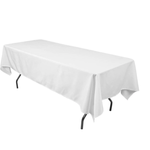 """56"""" X 110"""" WHITE RECTANGLE POLYESTER TABLECLOTH, 1 PC/PACK"""