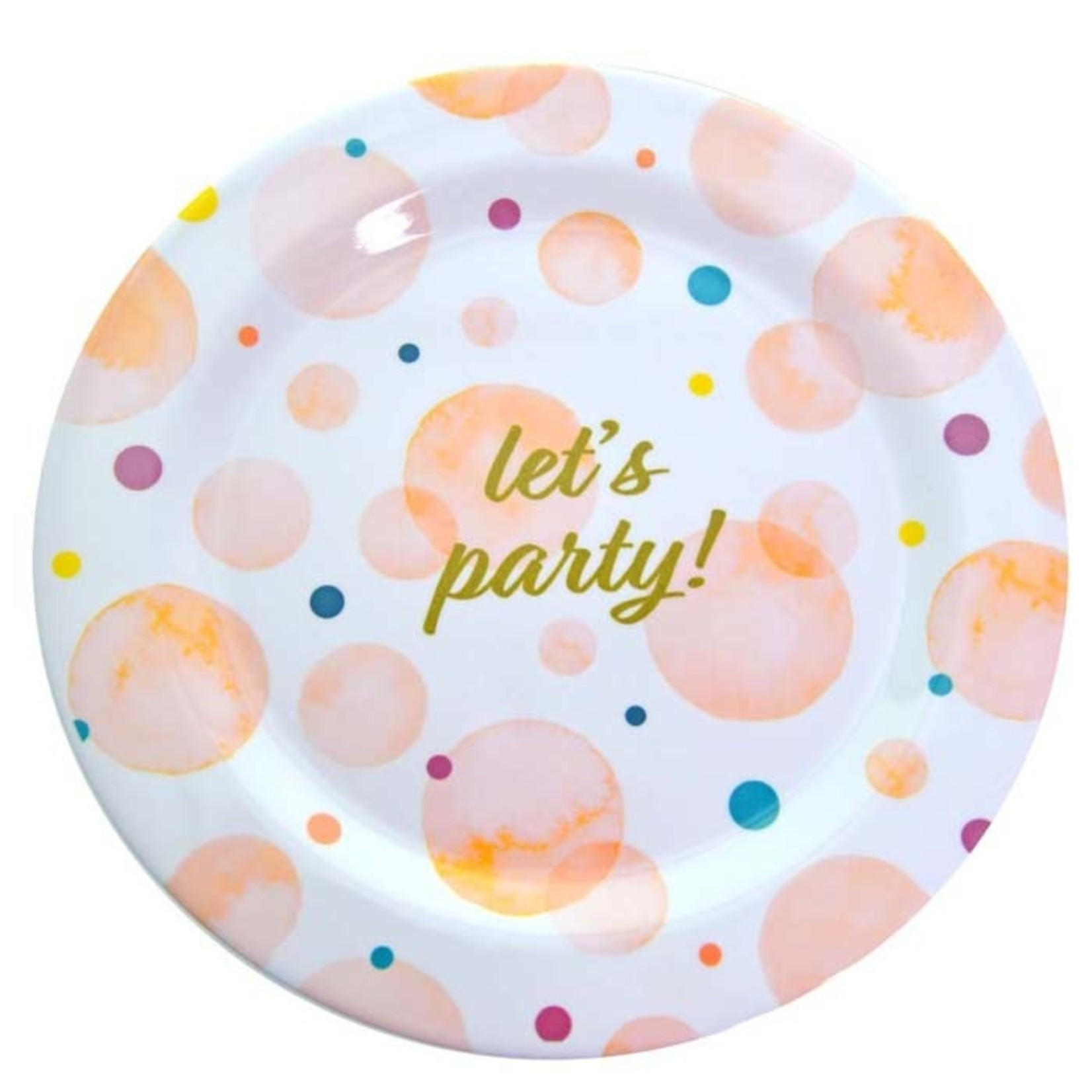 """10.75'' MELAMINE PLATE """"LET'S PARTY"""""""
