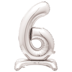 30'' SILVER FOIL STANDING BALLOON NUMBER 6