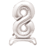 30'' SILVER FOIL STANDING BALLOON NUMBER 8