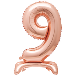30'' ROSEGOLD FOIL STANDING BALLOON NUMBER 9
