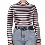 Adidas Adidas : Stripes Mock Neck LS Tee