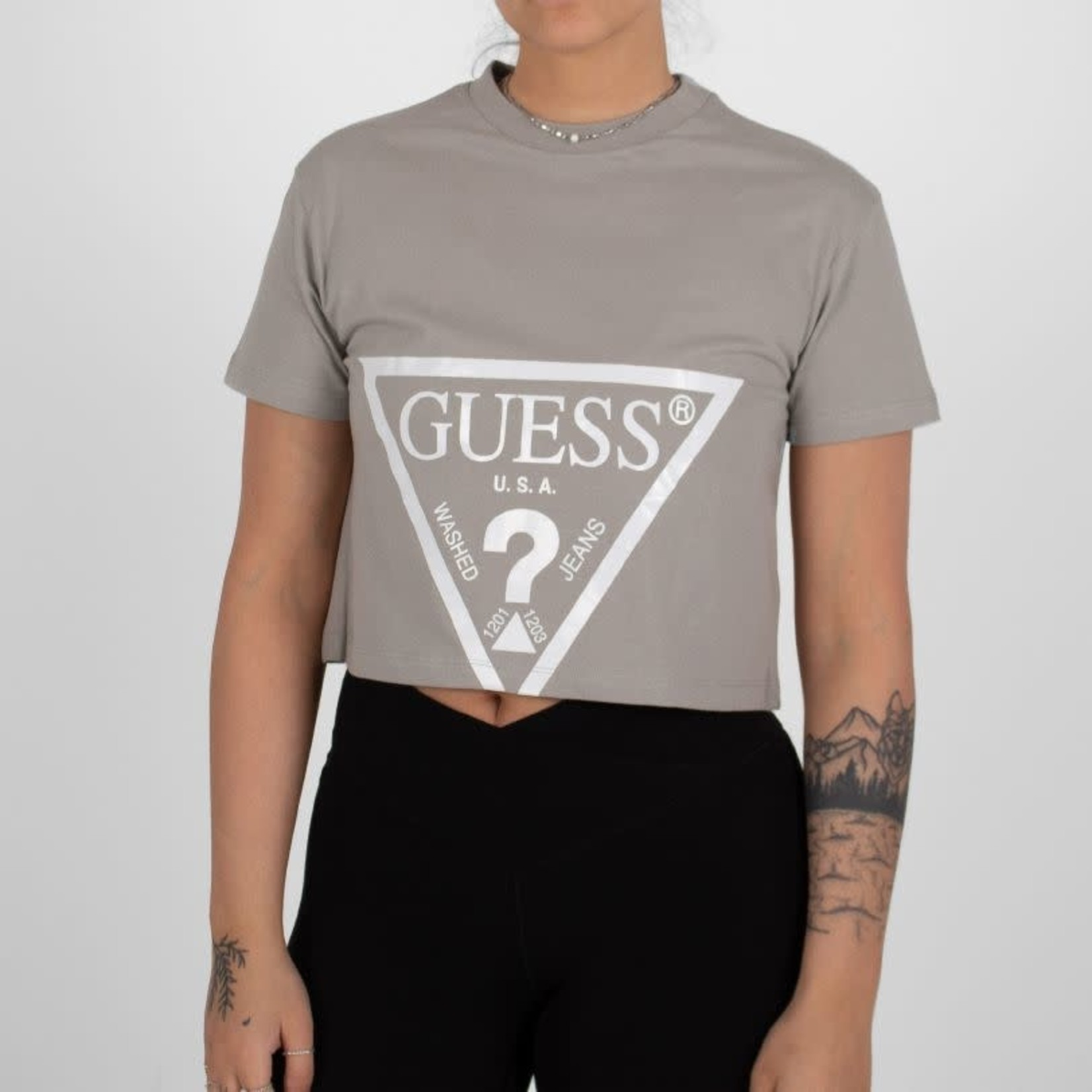 Guess Guess : Adele Printed Logo SS Crop Tee