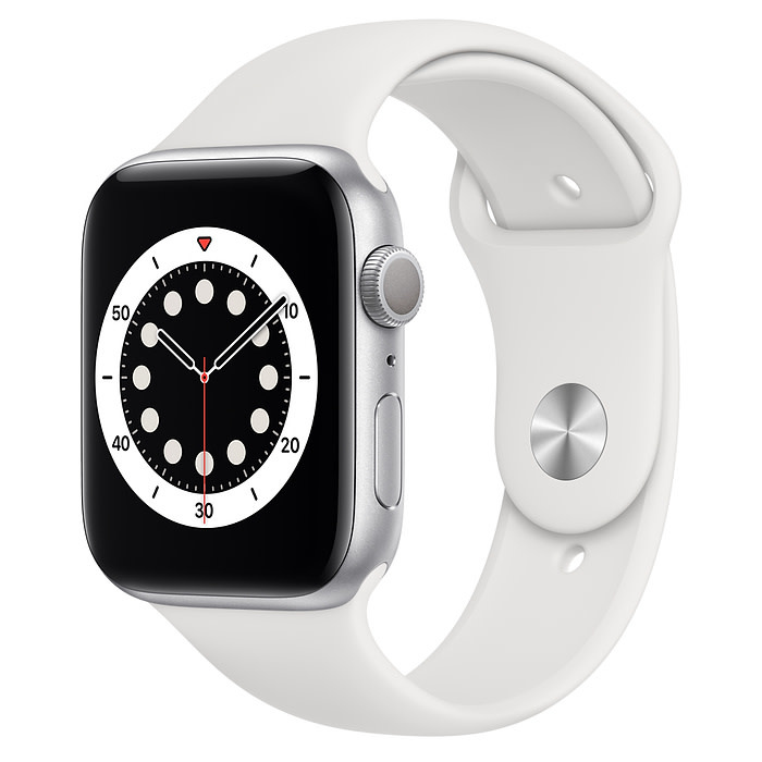 Apple Apple Watch Series 6 GPS, 44mm Silver Aluminum Case with White Sport Band - Regular