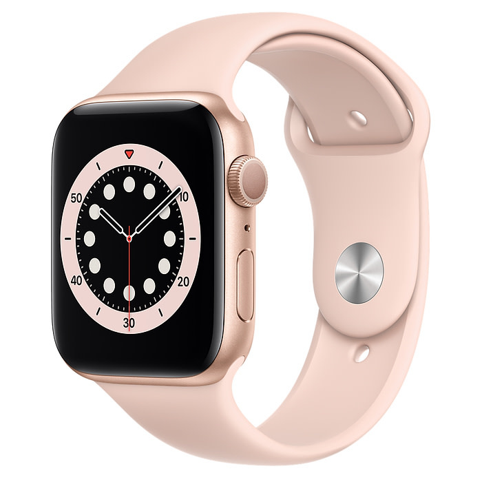 Apple Apple Watch Series 6 GPS, 44mm Gold Aluminum Case with Pink Sand Sport Band - Regular