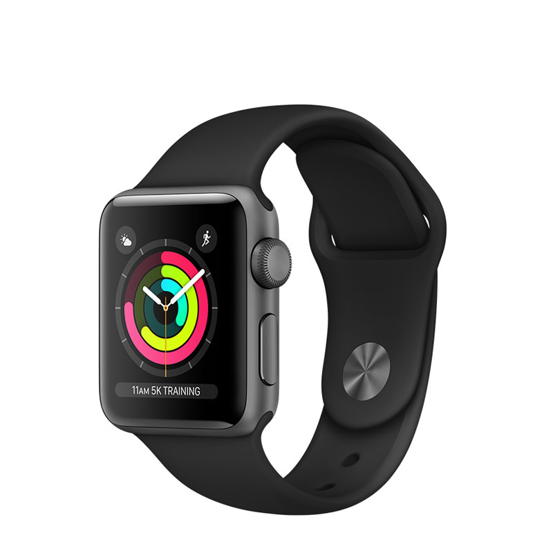 Apple Apple Watch Series 3 GPS, 38mm Space Gray Aluminum Case with Black Sport Band
