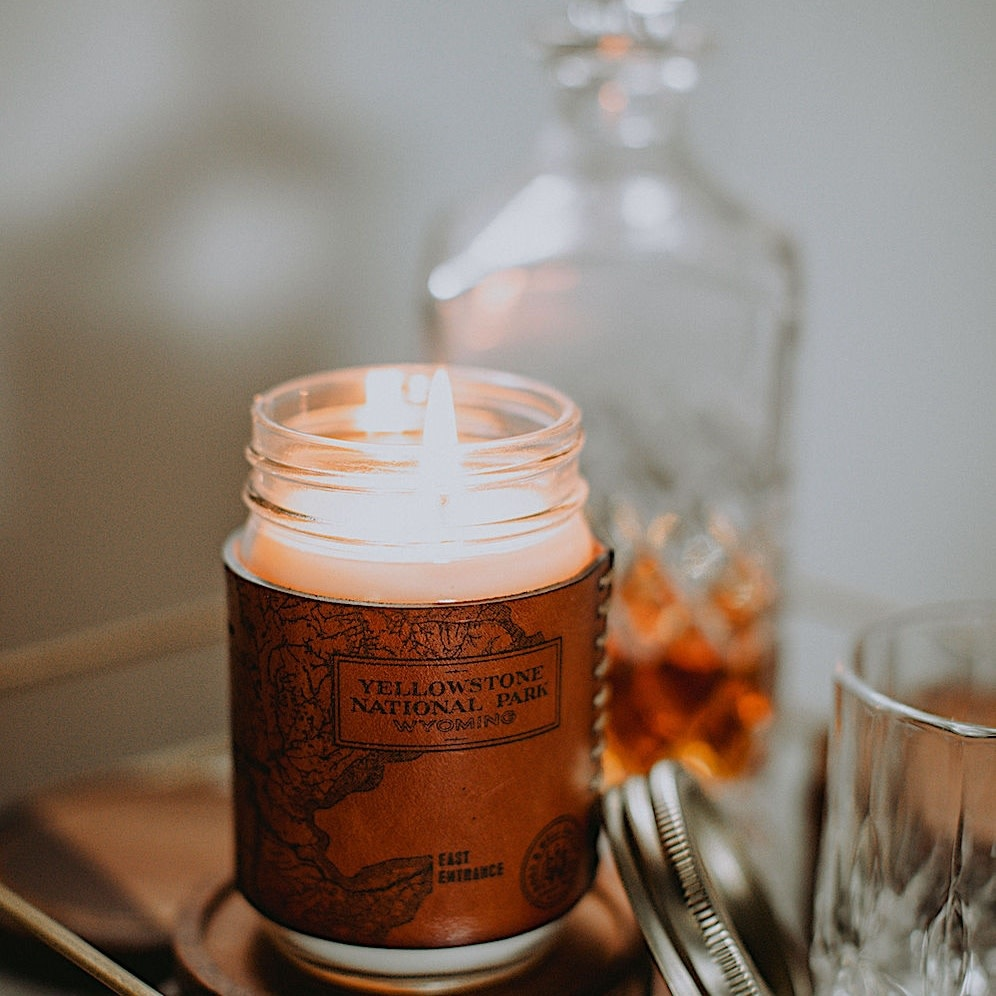 Yellowstone Heritage Park Map Candle