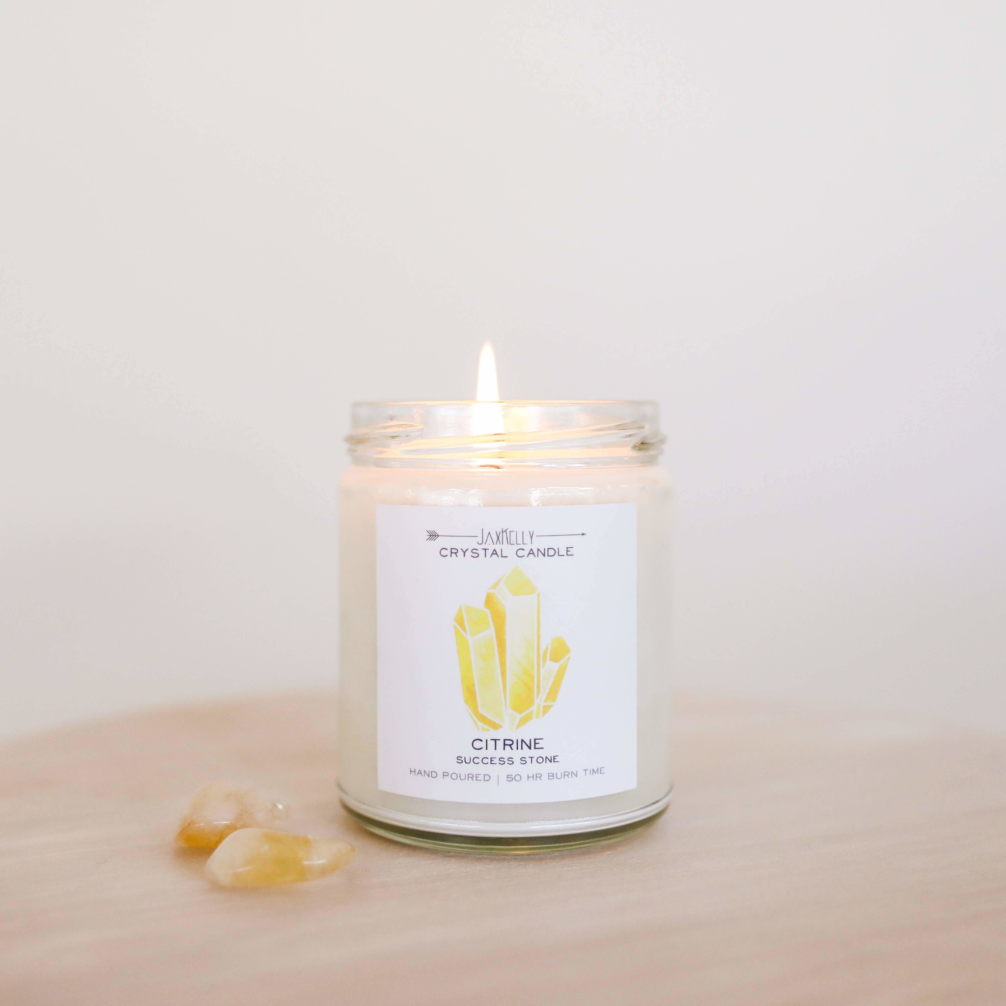 Citrine Crystal Candle - Success